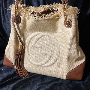 Gucci Bags - Gucci Soho Straw Chain Tote